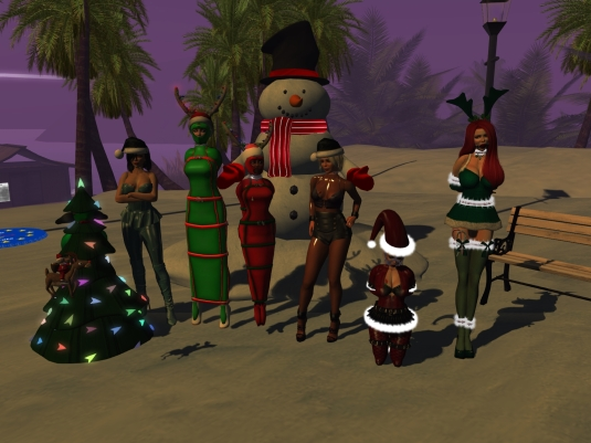 December 6th - slaves in their seasonal December outfits: slave D, Mistress Jenny, slave cecy, slave Flo, Diomita, slavin C and our guest Linda (12