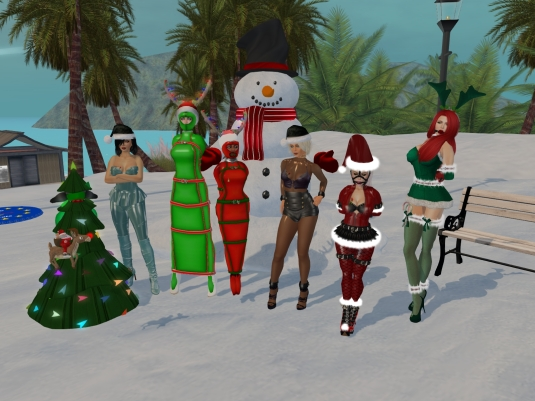 December 6th - slaves in their seasonal December outfits: slave D, Mistress Jenny, slave cecy, slave Flo, Diomita, slavin C and our guest Linda (3)
