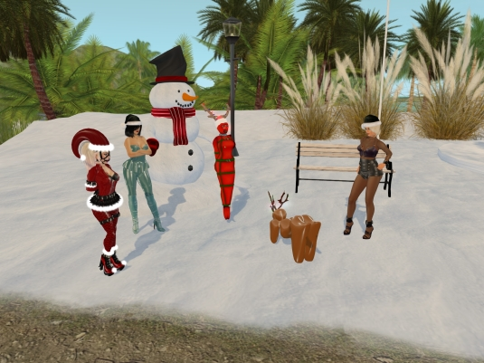 December 6th - slaves in their seasonal December outfits: slavin C, Mistress Jenny, slave Flo, slave Adarra and Diomita