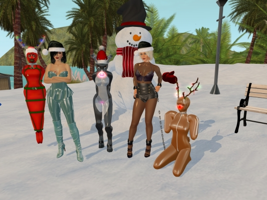 December 6th - slaves in their seasonal December outfits: slave Flo, Mistress Jenny, Kitty, Diomita and slave Adarra (1)
