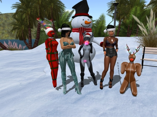 December 6th - slaves in their seasonal December outfits: slave Flo, Mistress Jenny, Kitty, Diomita and slave Adarra (2)