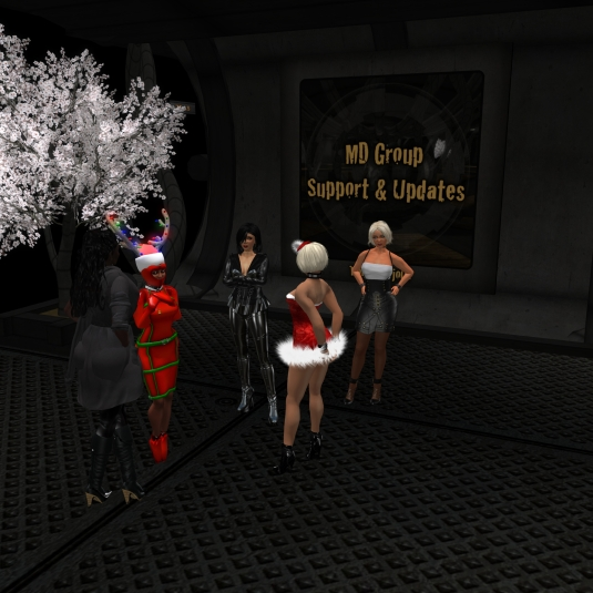 December 13th - teasing slave Flo: Argi, slave Flo, Mistress Jenny, Kitty and and Diomita at MD