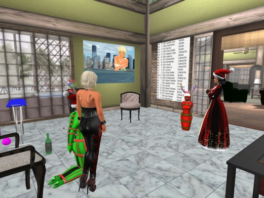 December 20th at home: Mistress Jenny and Diomita investigating what was going on with slave cecy and slave Flo