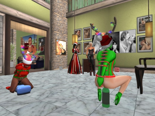 December 20th at home: Mistress Jenny and Diomita watching the slaves enjoying themselves, this time the slaves are complete again *winks*