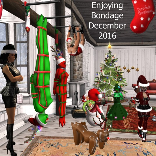 Enjoying bondage December 2016: Suspension bondage at BSP - Mistress Jenny, slave cecy, slave Flo, Kitty, slave puppy Adarra, Diomita, Christmas tree slave D and slavin C (from left to right)