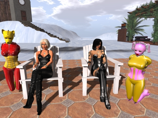 December 29th at home: puppy slave Adarra, Diomita, Mistress Jenny, slave Flo