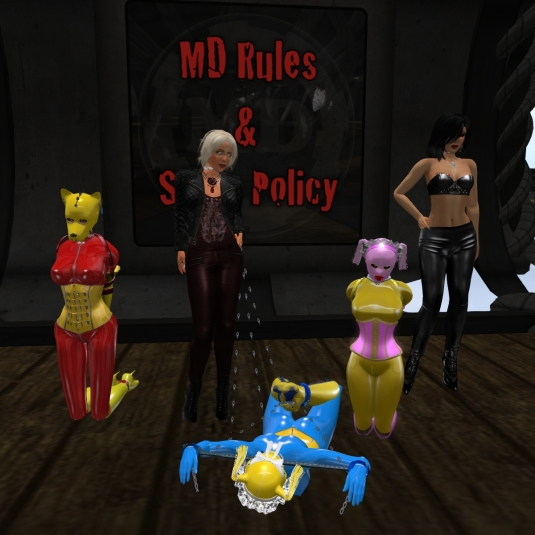 Jan 2nd at MD: slave puppy Adarra, Diomita, slave cecy (hogtied), slave Flo and Mistress Jenny
