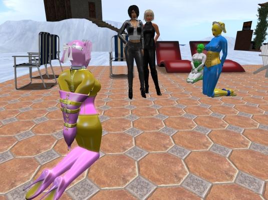 Jan 10th at the platform Patio; slave Flo, Mistress Jenny, Diomita, Kitty and slave cecy
