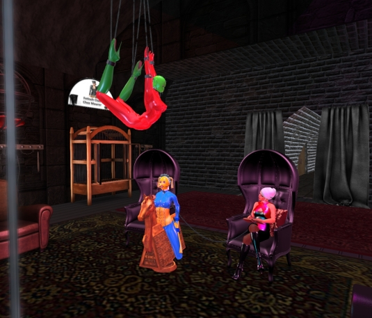 Jan 28th: Slave D at the Suspension rack in our new slub. slave cecy enjoys a spanish horse and Diomita is making notes.