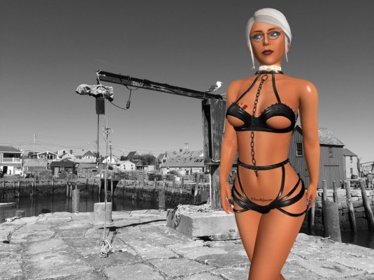 February 2017 entering my 10th year in SL - showing Mistress Jenny's collar and my Ehesklavin tattoo