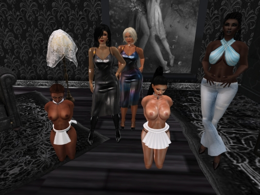 Feb 11th at TSH: slave Flo, Mistress Jenny, Diomita, slave Adarra and Argi