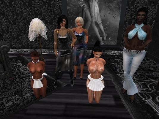 Feb 11th at TSH: slave Flo, Mistress Jenny, Diomita, slave Adarra and Argi