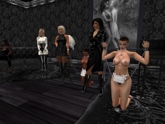 Feb 12th at TSH: Argi (on the couch), Angelique, Diomita, slave Flo, Mistress Jenny, slave cecy