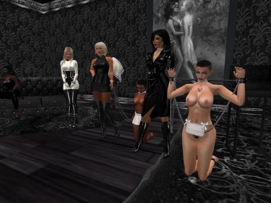 Feb 12th at TSH: Argi (on the couch), Angelique, Diomita, slave Flo, Mistress Jenny, slave cecy