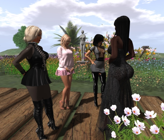 Feb 25th at home: Diomita, Angelique, the statue slut cecy, Mistress Jenny and Argi (from left to right)