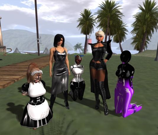 March, 1st at home: slavin C, Mistress Jenny, slave Flo, Diomita and slave slut cecy